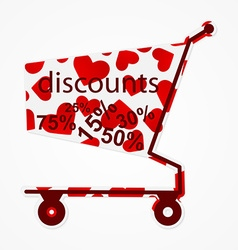 Label discount shopping cart with hearts Modern vector image