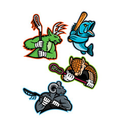 Lacrosse and baseball sports mascot collection vector