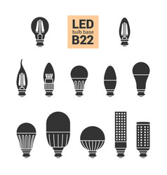 led light b22 bulbs silhouette icon set vector image