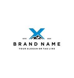 Letter x mountain logo design concept vector