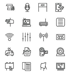 Media and Advertisement Line Icons 4 vector image
