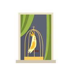 Metal cage with yellow tropical bird on windowsill vector