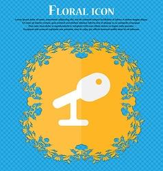 Microphone Speaker Floral flat design on a blue vector image