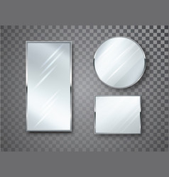 Mirrors set isolated with blurry reflection vector