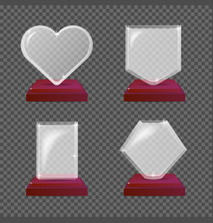 modern realistic glass trophy awards vector image