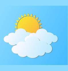 modern sun with clouds background summer vector image