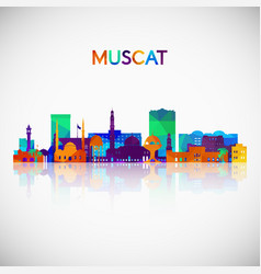 Muscat skyline silhouette in colorful geometric vector