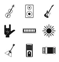 music festival icons set simple style vector image
