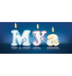 MYA written with burning candles vector