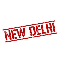 New delhi red square stamp vector