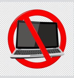 not use laptop - prohibition sign isolated on vector image