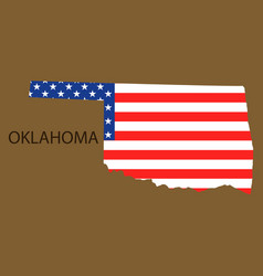 Oklahoma state of america with map flag print on vector