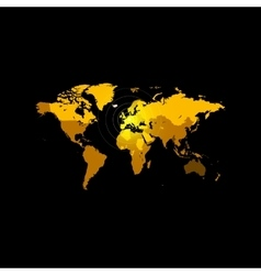 Orange color world map on black background Globe vector