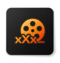 Orange glowing film reel with inscription xxx icon vector