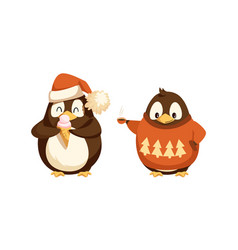 penguin in sweater with ice-cream isolated vector image