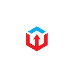 polygon arrow line business logo vector image