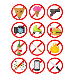 prohibitory signs icons set no vector image