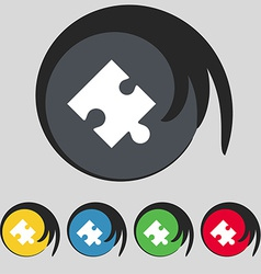 Puzzle piece icon sign Symbol on five colored vector