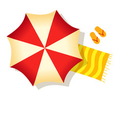 red beach umbrella towel and slippers isolated on vector image