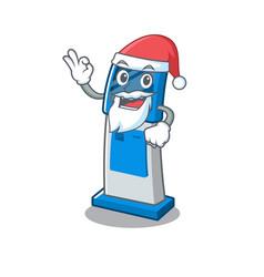 Santa digital information cartoon kiosk next to vector