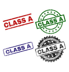 Scratched textured class a seal stamps vector
