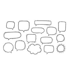 set hand drawn talk speech bubbles and think vector image