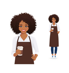 Smiling woman in apron holding coffee vector
