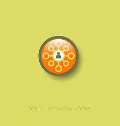 social network icon silhouette man center network vector image