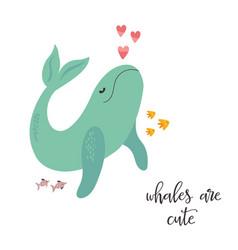 Sweet design with cute whale nursery art print vector
