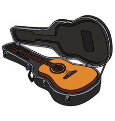 The classic accoustic guitar in a hard case vector