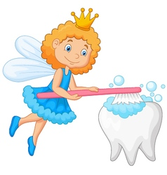 Tooth fairy brushing tooth vector image