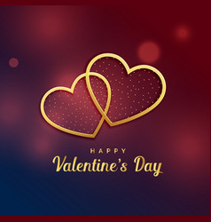 two golden hearts love valentines day design vector image