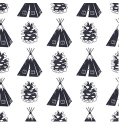 vintage hand drawn camping and forest pattern vector image