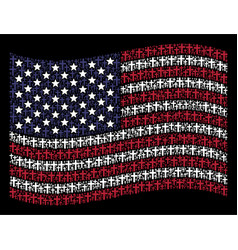 Waving american flag stylization of religious vector