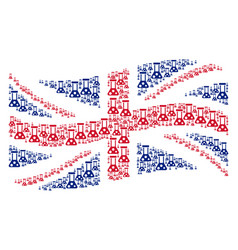 waving british flag collage of chemistry icons vector image