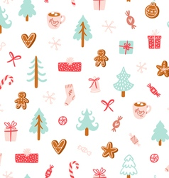 Winter holidays symbols seamless pattern vector image