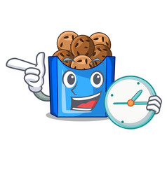 With clock falafel in fried on teflon cartoon vector