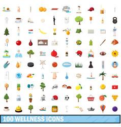 100 wellness icons set cartoon style vector image