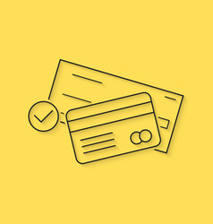banking with thin line check and credit card vector image vector image
