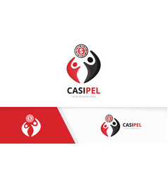 casino and people logo combination chip vector image
