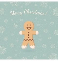 Christmas ginger cookie on winter backdrop vector image vector image
