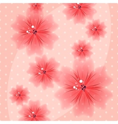 Colorful Floral Pink Background with Dots vector image vector image
