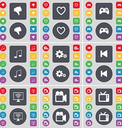 Hand Heart Gamepad Note Gear Media skip Monitor vector image vector image