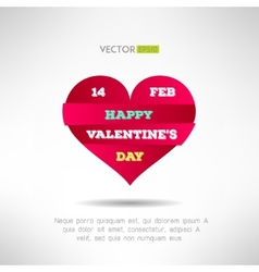 Red heart cut icon with valentines text and date vector image vector image