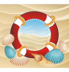 Summer icon with life buoy vector image