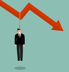 Businessman hang himself on a graph down vector image