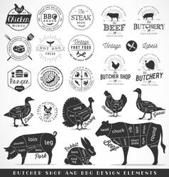 Butcher Shop and Fast Food Design Elements vector image
