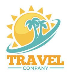 travel company promotional logotype with palms and vector image