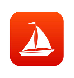 boat with sails icon digital red vector image vector image