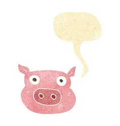 cartoon pig face with speech bubble vector image